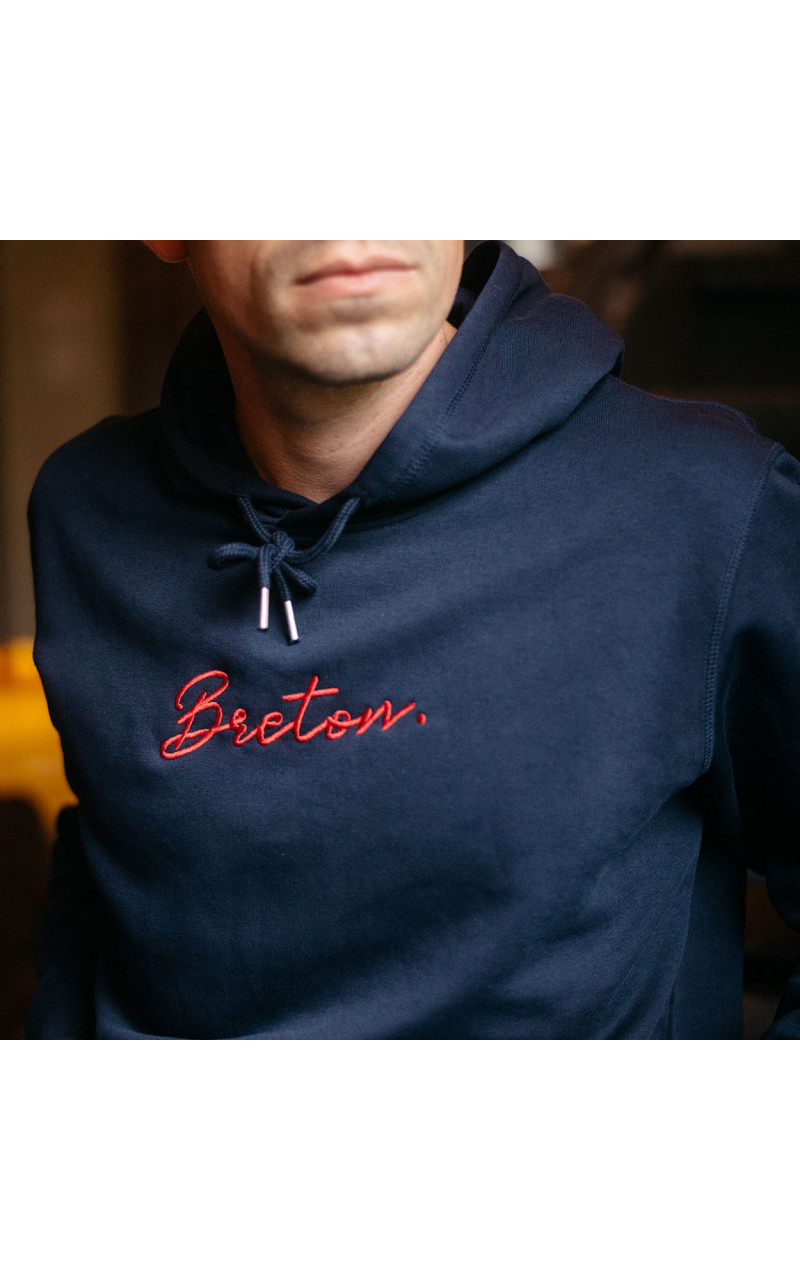 Sweat à capuche breton brodé Breton signature Breizh Club