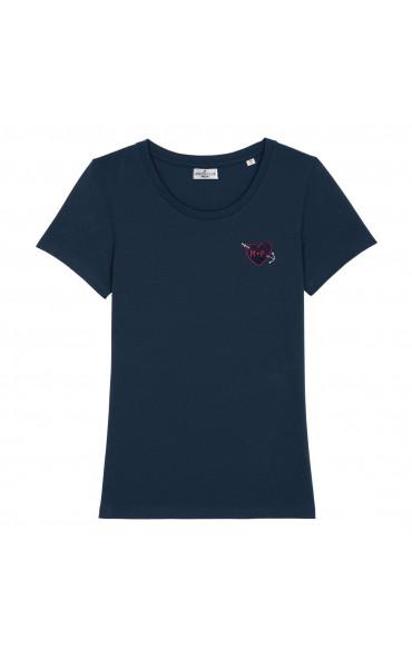 T-shirt femme brodé Coeur...