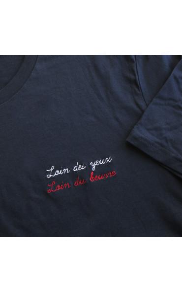 T-shirt femme brodé Loin...